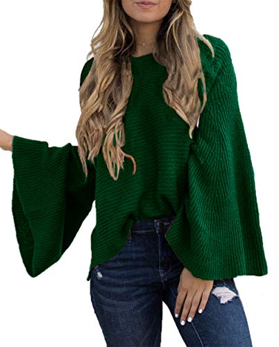 HZSONNE Women's Casual Kimono Bell Sleeve Patchwork Stripe Loose Fit V Neck Pullover Sweater Knitted Tops Blouse Cardigan (Green, X-Large) - Kimono Sleeve V-neck Tunic