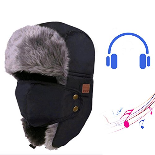 Extra-thick Soft Plush Outdoor Sports Bluetooth Music Speaker Hat - Yhouse Winter Trapper Trooper Hunting Ear Flap Hat with Windproof Mask, Built-in Mic (Black)