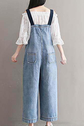 Bleu Printemps Denim Automne Jeans Salopette La Casual Taille Femmes Plus Large Jambe ApPqw155