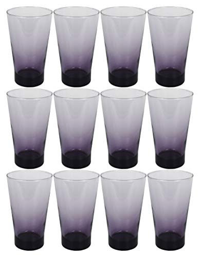 (Set of 12 Drinkware Drink Glass Drinking Glasses Set, 15 Ounce Coolers Glass Cups Limited Edition Glassware Drinkware Cups (12, Purple Shade))