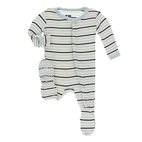 (Kickee Pants Little Boys Print Footie with Snaps - Tuscan Afternoon Stripe, 3-6 Months)