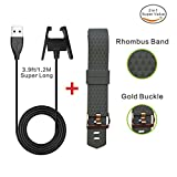 Fitbit Charge 2 Extra Long Wire Charger Cable 3.9ft/1.2M+Fitness Fitbit Wristband Gold Clasp Soft Diamond Bands,Gray Large