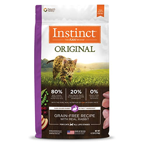 Instinct Original Grain Free Recipe with Real Rabbit Natural Dry Cat Food by Natures Variety, 4.5 lb. Bag