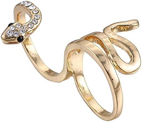 eManco Statement Snake Rings Double Fingers for Women Crystal Jewelry Gold