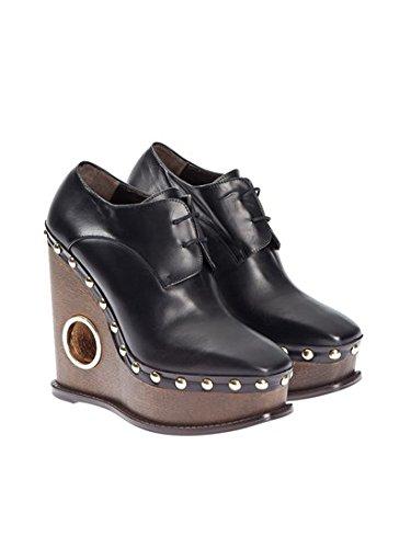 Paloma Barceló Mujer CACHVABK Negro Cuero Zapatos De Cordones