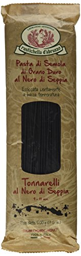 Rustichella d'Abruzzo Durum Wheat Squid Ink Tonnarelli Pasta - 17.6 oz (2 Pack)