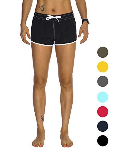 Rocorose Women's Surfing Shorts Fast Drying Lightweight Slim Fit Gym Sportswear with Zipper Pocket Black S