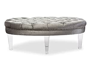 Contemporary Oval Tufted Ottoman Bench in Grey Fabric Microsuede