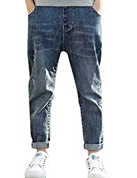 pipigo Big Boys' Jeans Denim Elastic Waist Childrens Pant