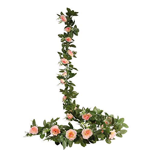 O-heart 2PCS(15.7 FT) Fake Rose Vine Artificial Silk Flowers Garland Hanging Rose Ivy Plants for Wedding Backdrop Baby Shower Home Decor ()