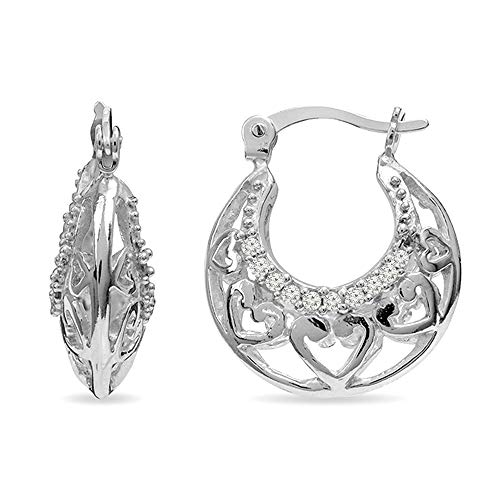 LeCalla Sterling Silver Jewelry Heart Filigree Cage Hoop Earrings for Women