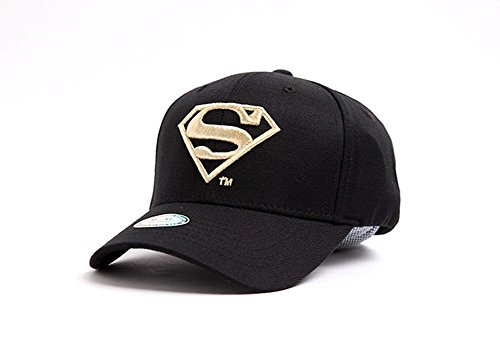myglory77mall Superman Shield Embroider Baseball Cap Spandex Fitted Trucker Hat Black/Gold M