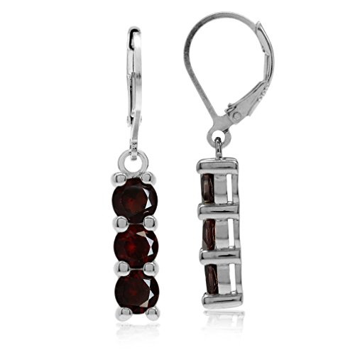 (3.24ct. 3-Stone Natural Garnet White Gold Plated 925 Sterling Silver Leverback Dangle Earrings)