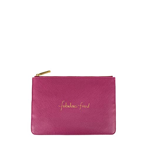 Katie Loxton Cerise Pink Fabulous Friend Women's Faux Leather Clutch Perfect - Fully Lined Embroidered Tote