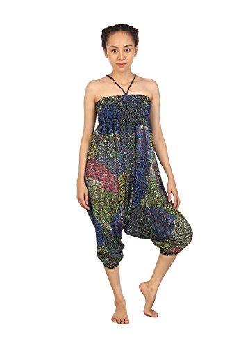 Yoga Hippie Harem Blu Lofbaz Peacock Pantaloni 1 Tuta Harem Boemo B Donna nqwwxX67Y