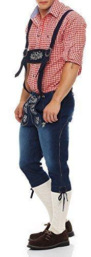 Gennadi Hoppe Herren Trachten Jeans Lederhosen Stil Kniebund (50, Jeans blau)