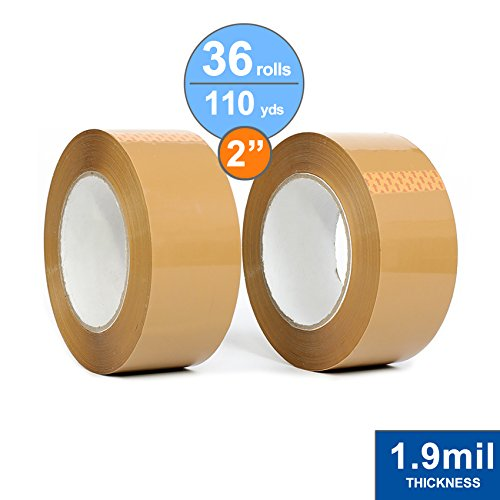 36 Rolls Package Tape 2 inch X 110 Yards, Carton Sealing Tape, 1.9mil Thick, Tan Acrylic