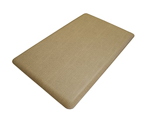 """NewLife by GelPro Anti-Fatigue Designer Comfort Kitchen Floor Mat, 18x30"""", Modern Grasscloth Khaki Stain Resistant Surface with 5/8"""" thick ergo-foam core for health and wellness"""