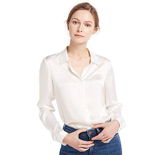 Top Silk 100% (LilySilk Women's 100 Silk Blouse Long Sleeve Lady Shirt 22 Momme Pure Charmeuse Silk Ivory M/8-10)