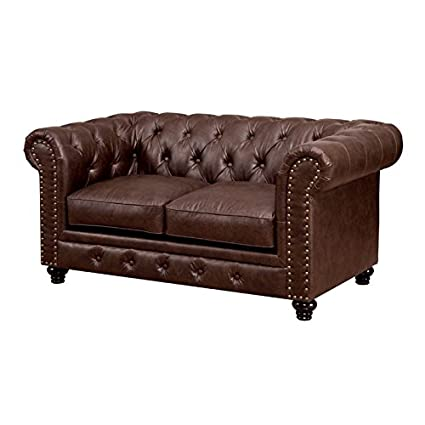 Awesome Furniture Of America Villa Tufted Leather Loveseat In Brown Ibusinesslaw Wood Chair Design Ideas Ibusinesslaworg