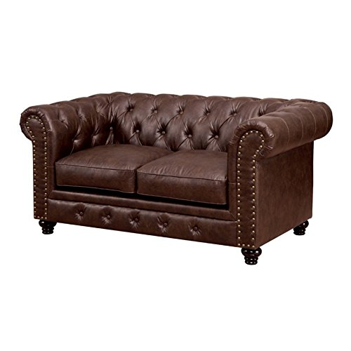 Furniture of America Villa Tufted Leather Loveseat in Brown