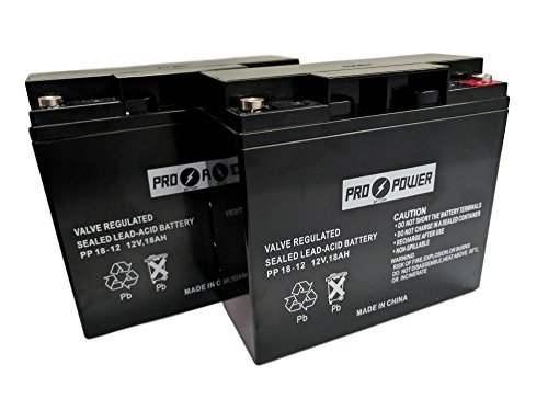 (2) Pro Power 12v 18ah for WP17-12 D5745 6DZM17 LCR12V17CP C by Pro Power