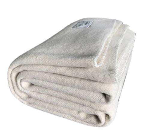 Woolly Mammoth Woolen Company Farmhouse Collection Thick Warm Wool Blanket. The Perfect complement to Your Country Home Decor. Use as an Oversized Throw or Additional Layer on The Bed | Antique Cream (Wool Antique Blanket)