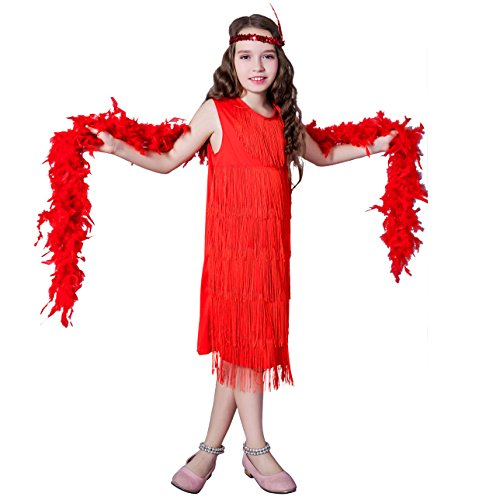 Girl 's Fashion Flapper Satin Dress Costume For Children (10-12 Y, Red) - Child Flapper Dress