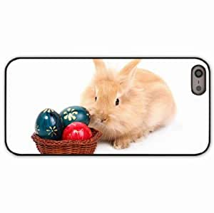 iPhone 5 5S Black Hardshell Case rabbit eggs basket paint background Desin Images Protector Back Cover