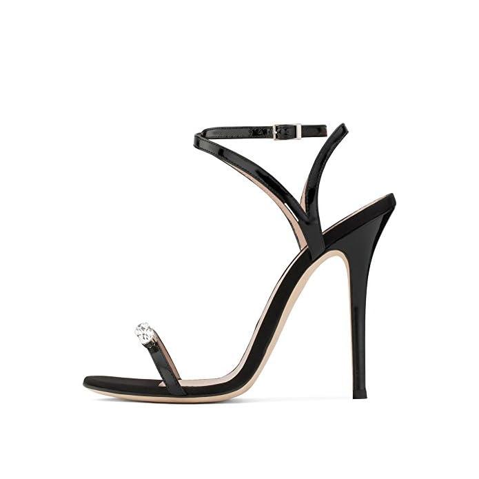 A Sera Cinturino Donna Estate Spillo 35-45 Diamante Caviglia Festa Hn Nero Nozze Peep Scarpe Sandali Alto Taglia Shoes Toe Tacco