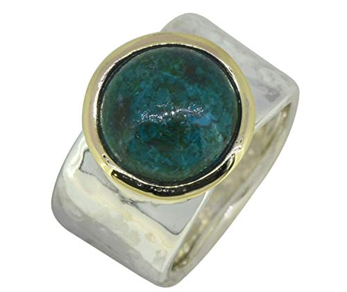 (YoTreasure Chrysocolla Ring Solid 925 Sterling Silver Brass Jewelry)
