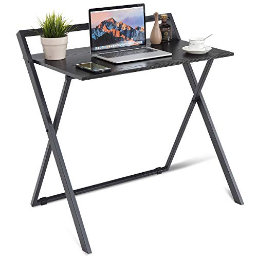 Tangkula Folding Computer Desk Simple Metal Frame Modern Home Office Laptop PC Workstation Compact Study Writing Reading Table for Small Space, Folding Table Black