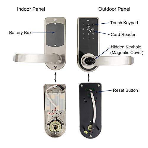 ETEKJOY Electronic Door Lock 3-in-1 Password RFID Card/Tag Hidden Keyhole Digital Touchscreen Keypad Left/Right Lever Reversible Handle Keyless Smart Auto Lock by ETEKJOY (Image #2)