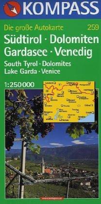 Südtirol, Dolomiten, Gardasee, Venedig 1 : 250 000. Kompass Strassenkarte.