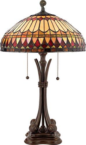 Quoizel TF6660BB Tiffany Table Lamp Lighting, 2-Light, 150 Watts, Brushed Bullion (27'H x 16'W)