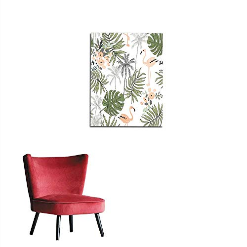 wall paper Blush flamingo palm trees leaves with white background Vector seamless pattern Tropical jungle foliage illustration Exotic plants greenery Summer beach floral design Paradisemural 20