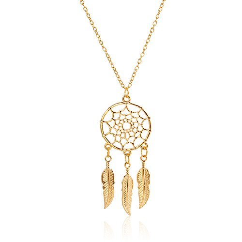 Women's Dangling Leave Charms Filigree Tribal Dreamcatcher Pendant Chain Necklace