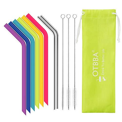OTBBA Reusable Silicone Drinking Straws for 30 oz Tumbler, 6 BIG Reusable Smoothies Straws for Yeti/Rtic/Ozark Tumbler + 3 Long Brushes + 2 Stainless Steel Straws + 1 Storage Pouch