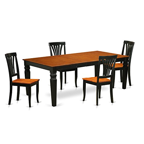East West Furniture LGAV5-BCH-W 5 Pc Set with a Table and 4 Dining Chairs in Black and Cherry ()