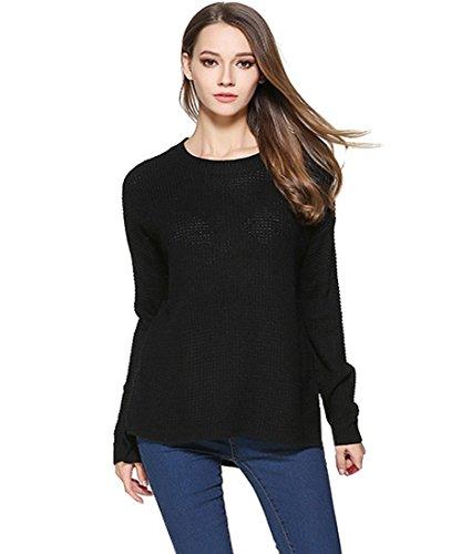 Noir Blouse Top Femme Chandail Casual Acvip Pour Pullover Chaud En Tricot Sweater qFFA1w