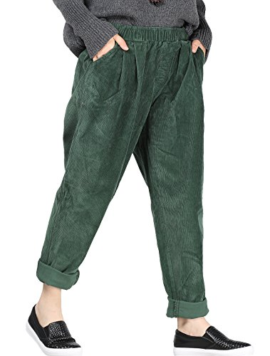 (Mordenmiss Women's Fall/Winter Casual Corduroy Pants with Pockets Blackish Green)