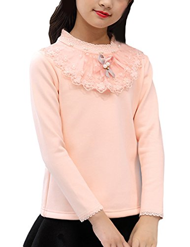 MFrannie Girls Scalloped Lace Beading Thicken Cotton Brushed Shirt Pink 9-10T ()
