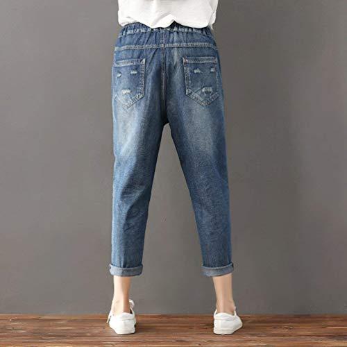 Elásticos Y Vaqueros Bolsillos Moda Delanteros Con Huixin Mujer Blau Cintura Casuales Elástica Cordón Stretch De Pantalones Cómodos 5XCRcqz
