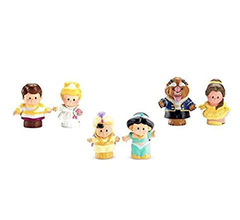 Fisher-Price Little People Disney 6 Pack: Cinderella and Prince Charming, Aladdin and Jasmine, Belle and (Belle And The Beast Little People)