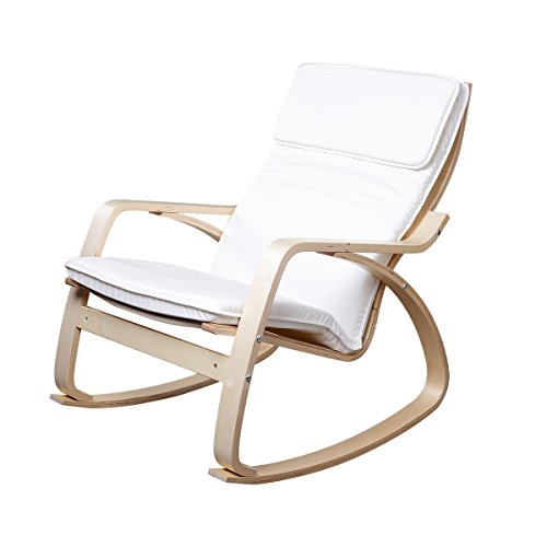 Modern Easy Chair (Emall Life Relaxing Modern Leisure Wooden Rocking Chair Indoor/ Outdoor With Adjustable Pillow Solid Wood Comfortable, Red/White)