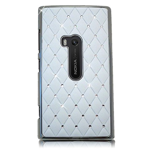 Xtra-Funky Case Compatible with Nokia Lumia 920, Crystal Rhinestone Diamante Studded Cover with Chrome Edge Effect - White (Cover For Nokia Lumia 920)