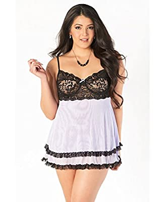 Coquette 1178X Women's Plus Size Lilac And Black Lace Babydoll Set