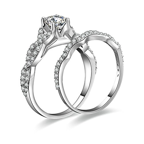 AnaZoz Women Wedding Rings S925 Sterling Silver 5.25MM Round Cut Cubic Zirconia Promise Ring Unisex Size 11