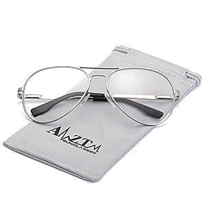 AMZTM Classic Fashion Retro Double Bridge Metal Frame Non-polarized Lens Aviator Sunglasses For Women and Men (Silver Frame Clear Lens, 62)