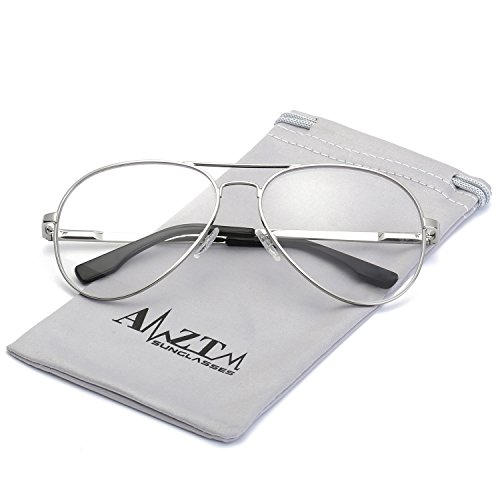 AMZTM Classic Fashion Retro Double Bridge Metal Frame Non-polarized Lens Aviator Sunglasses For Women and Men (Silver Frame Clear Lens, - Lenses Clear Polarized